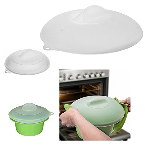 ZakSet of 2 Silicone Lids Dome Microwave Cover for Food Splatter Guard Large Small Plates