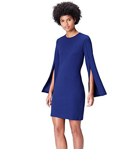 find. Kleid Damen mit Ärmelschlitz und Bleistiftsilhouette, Blau, 38 (Herstellergröße: Medium)