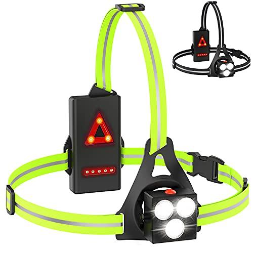 Led Luz para Correr Running, USB Fronta de Advertencia de Seguridad Impermeable Recargable, con Cinta Reflectante, Apta para Correr, Senderismo, Pesca, Ciclismo (Green) ⭐