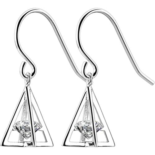 TYERY Pendientes de Plata S925, Pendientes de Diamantes de Moda Coreana Femenina Pendientes Triangulares Pendientes Geométricos de Temperamentoplata, Plata 925