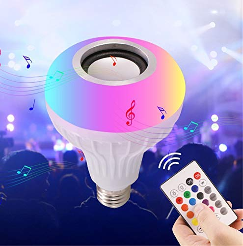 MINDRISERS RGB Light Ball Bulb Colorful Lamp and Fully Remote Control for Home,Bedroom,Living Room Supported for All Device Led Bulb Wireless Bluetooth Speaker Music Light (Random-Colour)