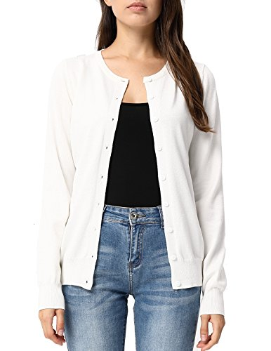 GRACE KARIN Button Round Neck Sweater Cardigans for Juniors (M,Off White)