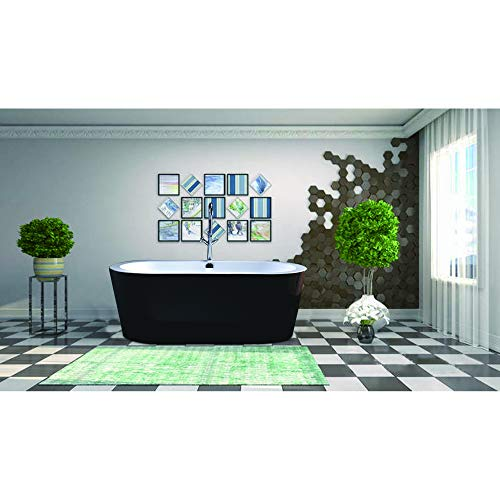 Vanity Art Freestanding Acrylic Bathtub Modern Stand Alone Soaking Tub with Polished Chrome UPC Certified Round Overflow and Pop-up Drain (68' x 32', Black) VA6812-BL