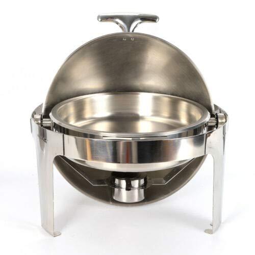 Chauffe-plat en acier inoxydable 6,8 l avec couvercle roulé pour traiteur, buffet et fêtes