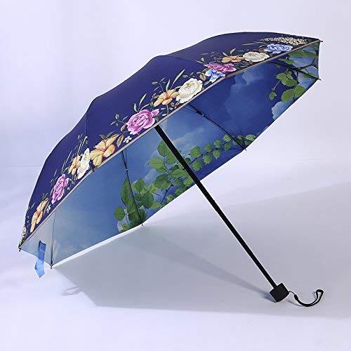 GFF Sasan Mori Fresh Sunshine-Regenschirm-Schwarzkleber UV-Sonnenschutz weiblicher koreanischer faltender Sonnenschutzregenschirm, Lied - marineblauer Himmel