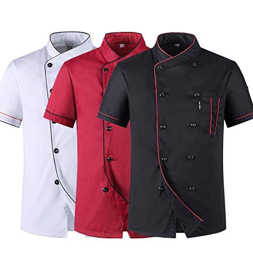 YOUYE Unisex Kochmantel, Sommerkoch-Catering-Uniformen-Jacken für Damen und Herren, Restaurant Küche Nahrungsmittelservice Baumwolle Kurzarm Kochanzug für Kochwettbewerb,Rot,XXL