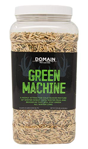 Domain Outdoor Green Machine Deer Food Plot Seed, 1/4 Acre, Highly Attractive Cold Weather Food, Will Stay Green Throughout Winter - Winter Wheat, Forage Oats, Winter Peas, Forage Rape, Radish