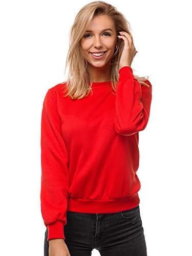 OZONEE Damen Sweatshirt Pullover Langarm Farbvarianten Langarmshirt Pulli ohne Kapuze Baumwolle Baumwollmischung Classic Basic Rundhals-Ausschnitt Sport JS/W01 ROT M