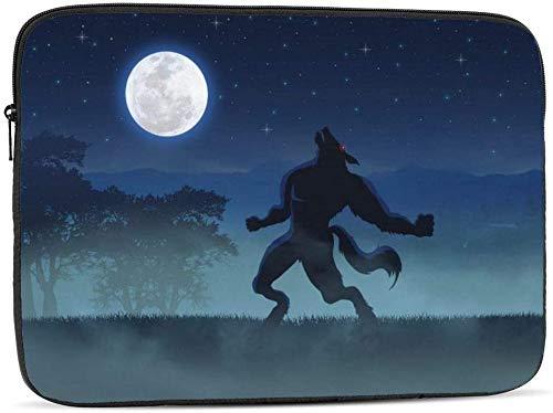 Funda para portátil con diseño de sirena y unicornio medieval en acuarela, compatible con el estuche para ordenador portátil clásico de 10-17 pulgadas, hombre lobo durante la luna llena, 12 pulgadas
