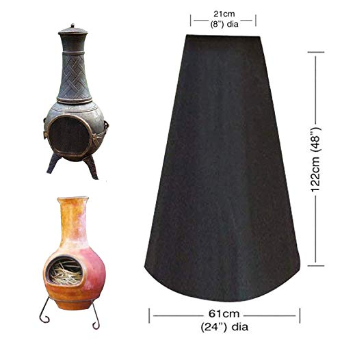 Xnbor Chiminea Cover Chiminea Protection, Outdoor Cheminée Fire Pit Heater Cover, Black Waterproof Polyester Duck Covers