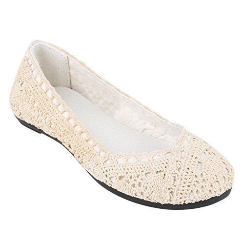 stiefelparadies Klassische Damen Ballerinas Basic Flats Leder-Optik Slipper Spitze Ballerina Knopf Denim Schuhe 139235 Creme Creme Spitze 38 Flandell