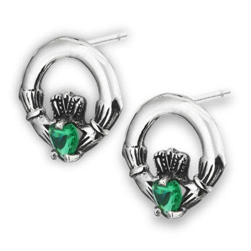Irish Symbol Claddagh Celtic Simulated Emerald Sterling Silver Stud Earrings