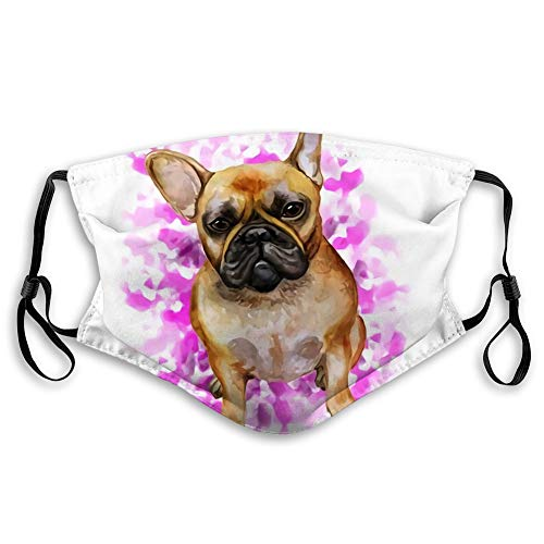 Randell Anti Dust Face Cover Mouth Scraf Shiled Watercolor Closeup Portrait French Bulldog Dog Pink Shorthair Frenchie