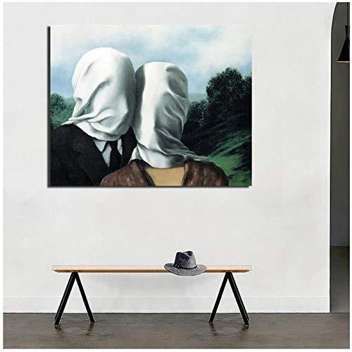 Vscdye Abstrakte maskierte Paare Druck auf Leinwand Kunstplakat Leinwand Malerei Kunstwerk Büro Bild Dekoration-24x32 IN No Frame