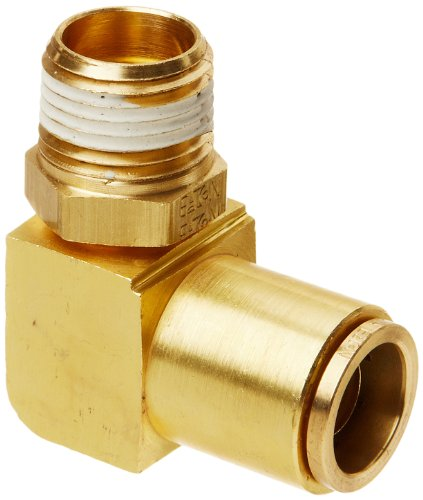 Eaton Weatherhead 1869X10S Brass CA360 D.O.T. Air Brake Tube Fitting, Swivel, 90 Degree Elbow, 1/2' NPT Male x 5/8' Tube OD