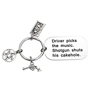 LParkin Driver Picks The Music Shotgun Shuts His Cakehole Supernatural Keychain