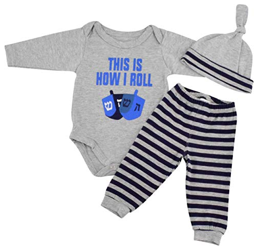 Unique Baby Boys This is How I Roll Hanukkah Layette Set Cap (6 Months)