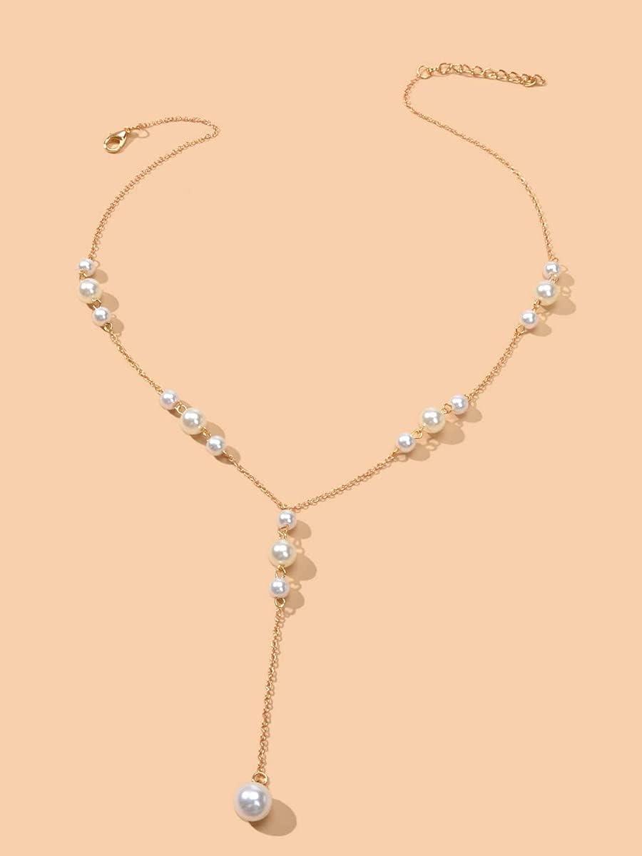 ANBF Necklace Pendant Faux Pearl Charm Y Lariat Necklace (Color : Gold)