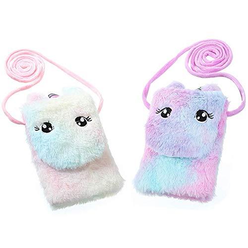 Bolsa de Hombro de Felpa de Unicornio - WENTS 2 Pcs Mini Bolso Bandolera Dibujos Animados Felpa Unicornio Hombro Messenger Monedero Bolsa de Teléfono Bolso para Niñas (Violeta/Rosa)
