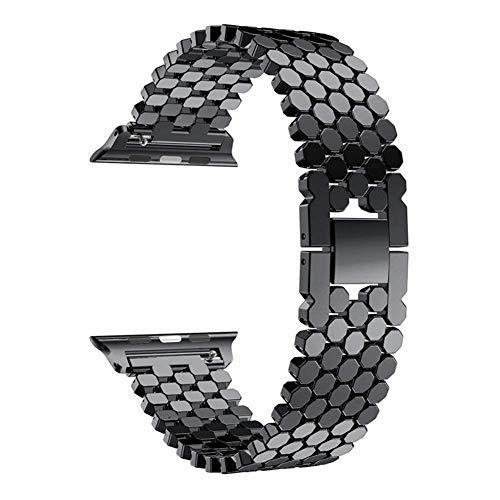 ZJSXIA Correa de pulsera de acero inoxidable de 38 mm, 40 mm, 42 mm, 44 mm, correa de muñeca de eslabones de 44 mm, correa de reloj, correas de reloj (color: 40 mm, tamaño: oro rosa)