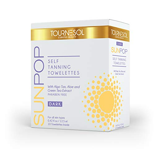 SunPop Self Tanning Towelettes 10-count (Dark) - Aloe Vera & Green Tea Infused Self Tanning Body Wipes - Best Sunless Self Tanner - Best Full Body & Face Tanner - Easy Streak Free Application