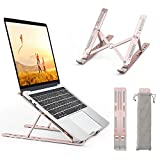 Laptop-Ständer, 6 Winkel Klappbarer Laptop-Ständer für Laptop-Tablet iPad-Telefon MacBook Dell Acer HP-Ständer 10-16 Zoll Anti-Rutsch-Roségold