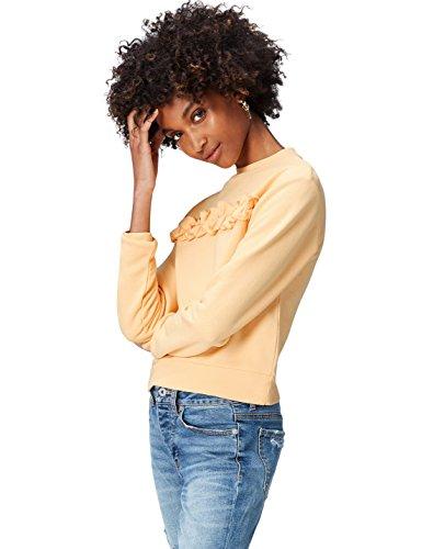 find. Sweatshirt Damen aus Baumwoll-Jersey, mit Rüschen, Orange (Fondant), 38 (Herstellergröße: Medium)