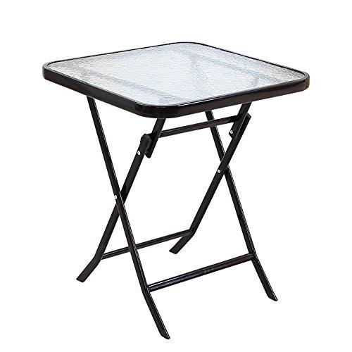 Kleine witte opklaptafel - glazen eettafel - campingtuin - ronde opklaptafel - snacks en koffie- en theesetwerkstation