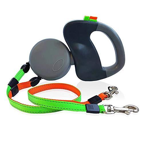 ZUEN Doppel-Hundeleine Für 2 Hunde, Automatische Dog Retractable Blei, 360 ° Tangle Freie Reflexfolie Mit Soft Grip Für Outdoor Gehen, Schwarz
