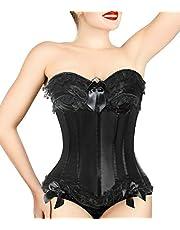 COMFREE sznurowany gorset overbust vintage gorset top seksowna bielizna z kośćmi dla kobiet czarna