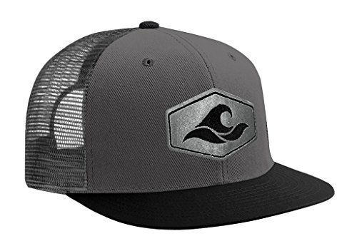 Joe's USA Koloa Surf Hexagon Patch Logo MESH Snapback Hat-BlackGrey