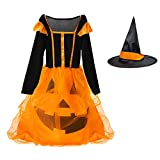 Witch Halloween Costume for Girls Kids, Pumpkin Dress Long Sleeve Cosplay Dress Includes Witch Hat Black