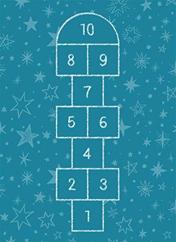 Deco&Fun - Alfombra vinílica Infantil Sambori Blue 160x220cm - Alfombra Infantil Lavable- Alfombras niño y niña - Alfombras PVC - Alfombras habitación Infantil
