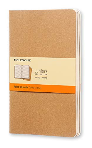 Moleskine Cahier Journal, Soft Cover, Large (5' x 8.25') Ruled/Lined, Kraft Brown, 80 Pages (Set of 3)