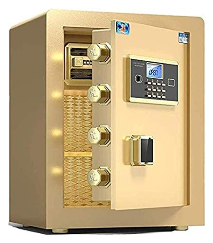 Strongbox Safes for Home, Money Safe Lock Boxes, Cabinet Safes Home Safes Fireproof Waterproof Combination Lock with Key and Code,Small Household Safe, Mini Office All-Steel (Color : Gold)