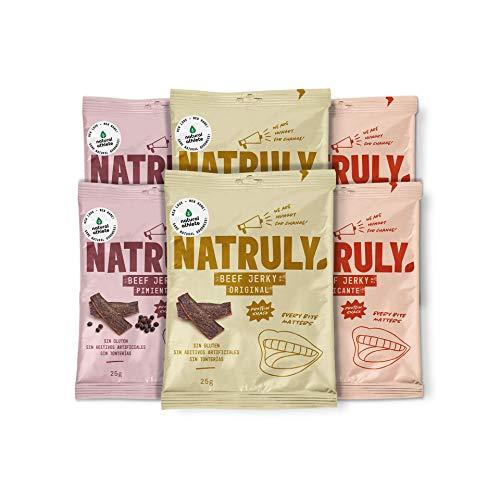 Beef Jerky Mix Sabores Natural Athlete, Carne Seca 100% de Vacuno, Sin Gluten, Sin Lactosa, Sin Azúcar Refinado Añadido, Sin Aditivos Artificiales, Pack 6x25 g
