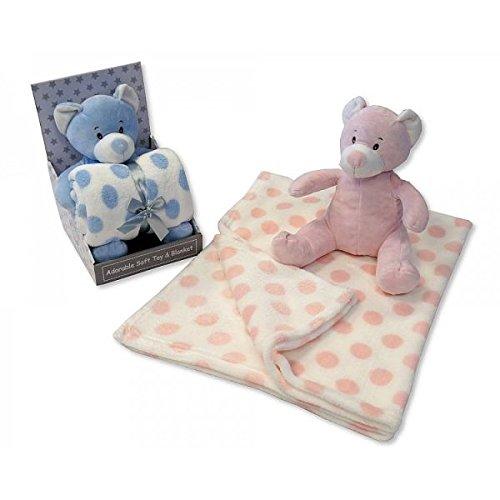 Bébé Garçon Bleu doux Ours en peluche et couverture A POIS – Livré dans une boîte cadeau de