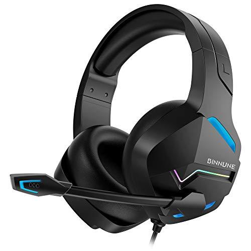 BINNUNE Cascos Gaming Auriculares con Microfono para PC PS4 PS5 Xbox One X Series Gamer Headset con 3.5mm Jack, Luz LED, Sonido Envolvente de Graves