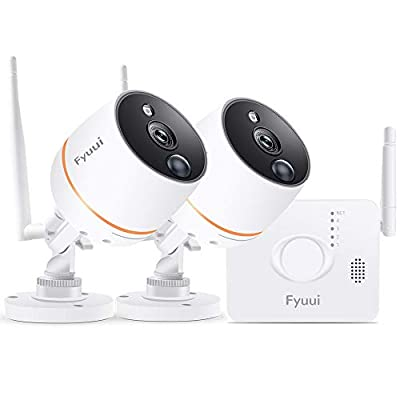 ?Mini NVR? Security Cameras System Wireless, Fyuui 4CH 1080P NVR with 2pcs 1080P Wireless WiFi IP Camera Outdoor Indoor, 2-Way Audio, PIR Motion Detection, 100ft Night Vision, Remote Monitoring