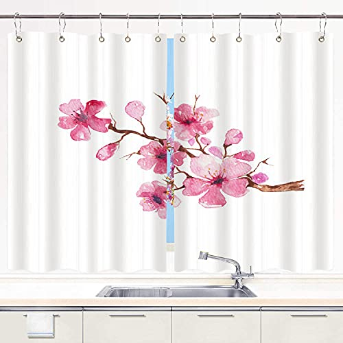 BOKEKANG kitchen curtains,Pink Flower Branch Of Cherry Blossom Watercolor Painting Tree Sakura Japanese,Cafe Curtain Kitchen Window Treatment Sets Home Decor with Hooks,55'Wx39'L,2 Panels