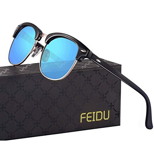FEIDU Retro Polarized Mens Sunglasses for Men Half Metal Women FD3030 (1-blue, 2.04)