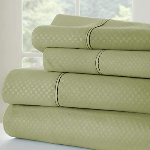 Olive and Twill Luxury Checkered Embossed 4 Piece Bed Sheet Set Maryland