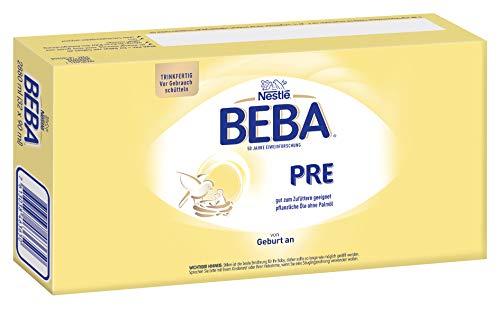 Nestlé BEBA PRE, Säuglingsmilchnahrung von Geburt an, trinkfertige Babymilch im Fläschchen, leicht verträgliche Babynahrung, (32 x 90 ml)