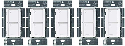 Lutron Caseta Smart Home Switch, Works with Alexa, Apple HomeKit, Google Assistant | 6-Amp, for Ceiling Fans, Exhaust Fans, LED Light, Incandescent and Halogen Bulbs | PD-6ANS-WH | White 5-Pack