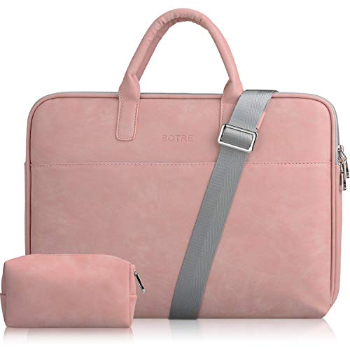 BOTRE 13-15.6 Pulgadas Bolso de Mujer Bandolera Ordenadores Multifuncional Maletín Hombre Funda para Portátil Macbook Air iPad Moda y Negocios (15.6pouces, Rosa)