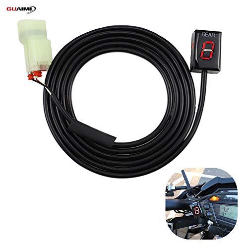 GUAIMI Motorrad Ganganzeige Wasserdicht 6 Speed LED Digitale Ganganzeige Plug in Adapter Kompatibel mit H-onda CB500F/X CB1000R NC700S/X NC750S/X CBR300R CBR500R CBR600RR CBR250R CBR1000RR - Rot