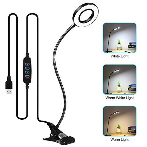Lámpara Escritorio LED, Zorara Lámpara de Mesa USB 3 Modos de Iluminación 10 Brillo 360 ° Flexible Lámpara de Escritorio Led Regulable para Leer Estudiar [Clase de Eficiencia Energética A]