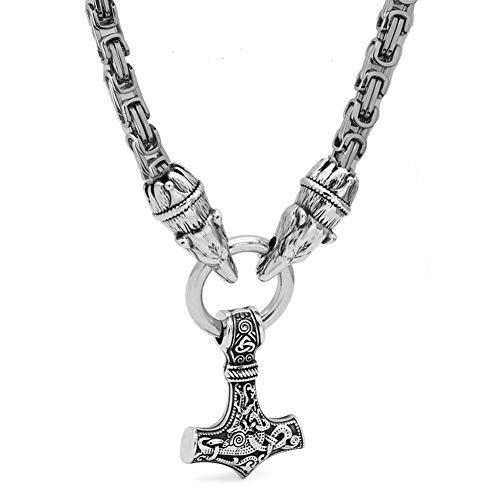 NICEWL Viking Stainless Steel Mjolnir Colgante Cabeza de Lobo Collar, Martillo Nórdico Odin Thor Martillo Celta Atem Amuleto, 6MM Cadena Bizantina Joyería Escandinava