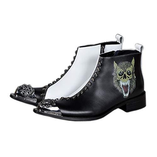 XER Heren Schoenen Martin Laarzen, Vrije tijd Trendy Persoonlijkheid, Gedrukte Cowboy Laarzen, 37 tot 46 Maat, voor elke gelegenheid (zwart + wit)