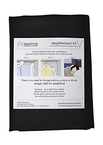 easyblackout Estor opaco con cinta adhesiva VELCRO® (negro, tamaño 1: 100 x 135 cm)
